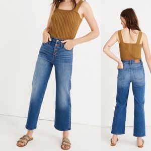 Madewell Slim Wide Leg Crop Jeans Button front 30